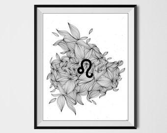LEO ZODIAC SIGN , Printable art , Astrology Print , Abstract , 8x10, Astrology, Horoscope, Zodiac sign, Leo print, Zodiac print, Doodle art