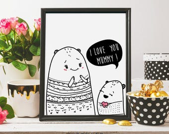 i love you mummy, mothers day print, mothers day card, i love you mom, doodle art, gift idea, for mom, ink art, printable art, digital print