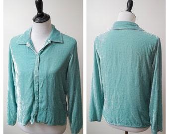 M Sea foam silk velvet blouse/ 90s rayon velvet button up/ shimmery velvet