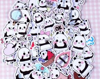 40 Pcs Cute Panda Sticker, Panda Sticker Flakes, Black and White Filofax Stickers, Scrapbooking, Panda Schedule Stickers, Animal Stickers