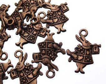 10 Antique Bronze Steampunk Alice In Wonderland Rabbit Charms - 25mm