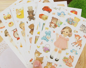 Stickers baby doll/baby doll vintage style designs 6 sheets set