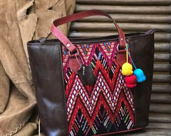 Sale handbag leather and Huipil from Guatemala