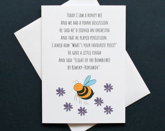 Funny bee card, funny bee poem, orchestra card, rimsky-korsakov card, flight of the bumble bee card, funny music card, honey bee card