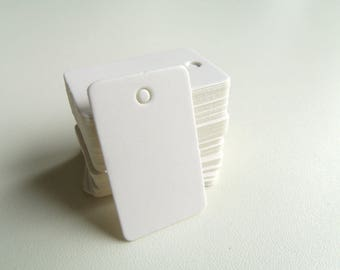 50 mini Tags labels hardback American White 2cmx3.3cm