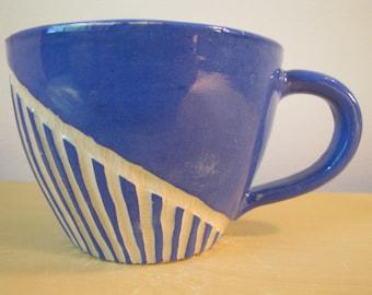 Bold blue lines mug