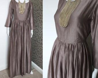 Chanderi Silk Gown - Anarkali - Silk Dress - Party Dress - Evening Gown - Grey Maxi Dress - Maxi Dress - Indian Outfit