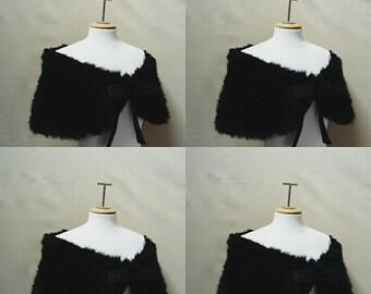 Cache shoulder, fake fur, Shoulder shrug,black bridal cover up