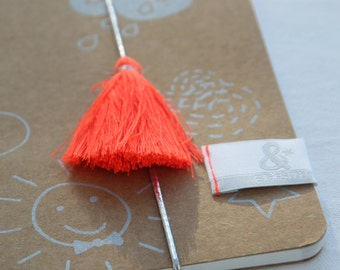 Book winter sky silkscreen elastic and Pompom coral Fluo - Handprinted or Orange Fluo in France