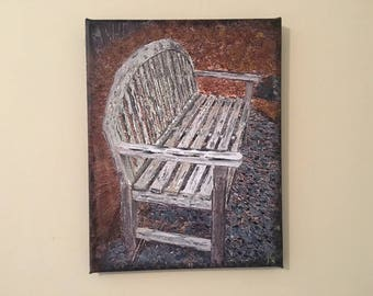 """Inviting Bench - Photo-on-canvas, printed/stretched/wrapped w/acrylic embellishments, 11""""x14"""", 5/8"""" bars. Photo location: Marietta, GA."""