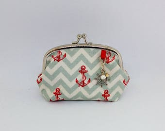 Nautical Anchor Kisslock Purse with Charms and Freshwater Pearl