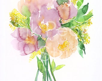WATERCOLOR FLOWERS Pink peony bouquet art print // floral watercolor // watercolor peony peonies // floral poster // pink and yellow flowers