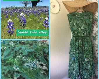 Vintage Floral 1950's Day Dress w/cord belt sz L/XL