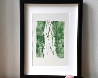 Monoprint art, monotype print, green abstract print, modern abstract artwork, contemporary art, nature themed print, floral pattern, summer