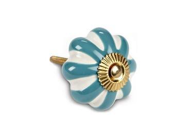 Turquoise Stripe Drawer Knob, Vintage-Style Drawer Pull, Decorative Ceramic Knob, Farmhouse Decor