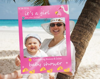 baby shower frame prop baby girl customize poster frame photo prop photobooth