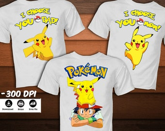 SET Pokemon Iron on Transfer Shirt-Printable Birthday Pikachu Pokemon Shirt for family -Pokemon Pikachu party decoration-DIGITAL  IMAGE