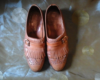 women's vintage brown leather brogue shoe's size uk 5