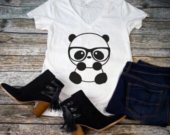 Nerd Panda White V-Neck Shirts, Comfy White V-Neck Shirts, Panda Shirts, Pandas, Panda with Glasses Shirts, Women's Shirt