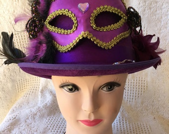 Purple Masquerade Hat with Butterfly & White LED Lights Tophat Cosplay Unisex Mask