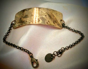 Brass Bracelet - Brass and Chain Bracelet - Brass Patina Bracelet