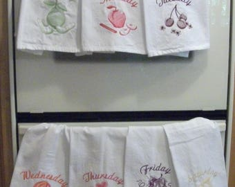 Days of the Week Kitchen Towels with Fruit Embroidery