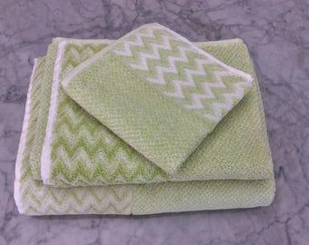 Chevron Tweed Lime Green Turkish Bath Towels