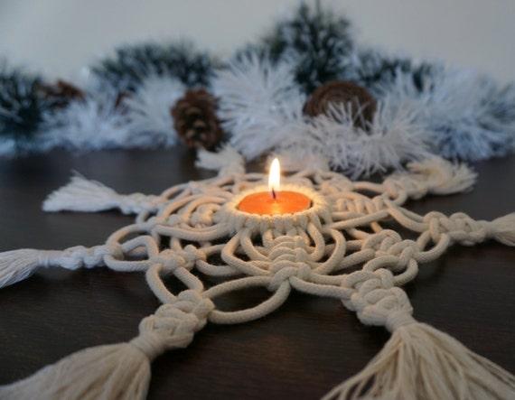 Macrame Tea Light Holder, Christmas Candle Holder, Christmas Table Decor and Decorations, Macrame Candle Holder, Macramé, Christmas gift