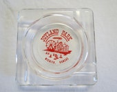 Clean Vintage Souvenir Ash Try from Joyland Park in Wichita Kansas Red print on clear glass Amusement Theme Park