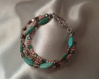 Green turquoise and crystal bracelet