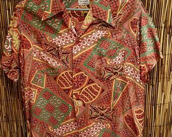1950s original rayon Hawaiian Tiki style shirt by Hallmark tag size M