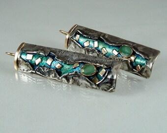S5- orecchini in argento,oro rosa,smeraldi,lacca