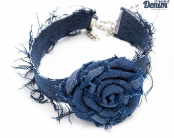 Denim Floral Choker with Frayed Accent