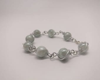 Bracelet-glass beads-wire wrapping