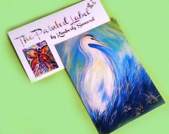 ACEO Bird Art, Egret Print, Wildlife Art, Bird Decor, Wildlife Art, Bird Painting, Collectible Art, Mini Art, ACEO, Artist Trading Card