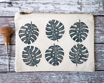 Zipper Pouch, Monstera Print Make Up Bag, Hand Printed Cosmetic Bag, Zipped Pouch, Travel Pouch, Canvas Pouch, Pencil Case, Girlfriend Gift
