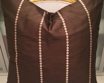 22 x 22 Schumacher brown and cream silk dot pillow