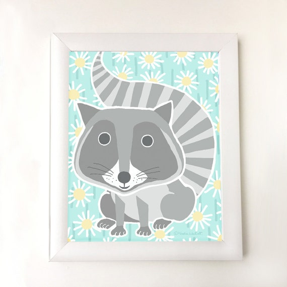Woodland raccoon on aqua flowered background for nursery, girl's bedroom wall, art for kid's room, children's decor, raccoon art, baby girl
