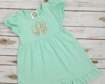 Custom Monogrammed Girl's Short Puff Sleeve Empire Waist Ruffle Dress Vine or Circle Monogram