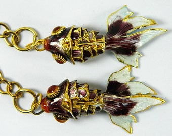 A Pair Of Purple Cloisonne Copper Enamel Articulated Goldfish Koi Fish Figurine,Pendant & Earrings Eardrops Component,Decoration Ornament,