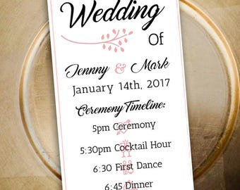 Customizable Double Sided Wedding Program