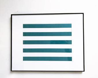 "Framed & Matted Print - 11"" X 14"" - Teal Stripes"