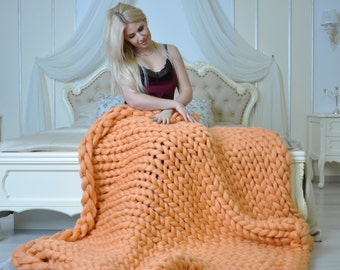 Chunky knit blanket, arm knit blanket, giant knit blanket, merino wool blanket, chunky blanket, chunky knit throw, large knit blanket