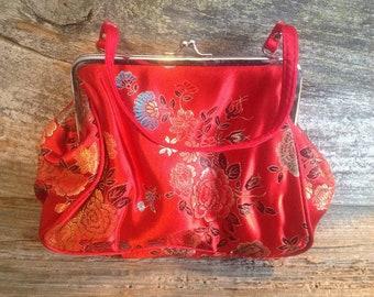Asian-Oriental Vintage Red Satin Evening Bag  wedding/party/special occasion/bridal/asian/vintage/oriental/eveningbag