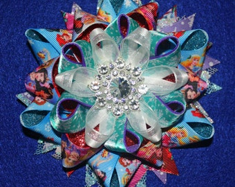 5 in. Christmas Snowflake Princess Character Boutique Hair Bow