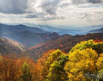 "Blue Ridge Photo | ""Blue Ridge Parkway Sunbeams"" | Fall Foliage North Carolina Wall Art - Blue Ridge Wall Art - Autumn Blue Ridge Art Print"