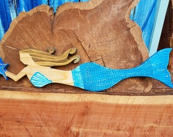 Wooden Mermaid Wall Hanging mermaid wall hanging beach decor beach summer mermaid