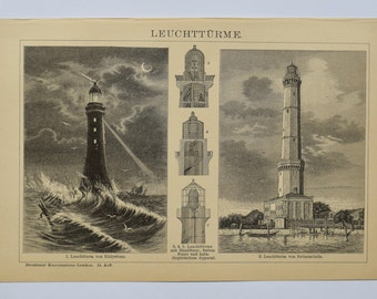 1905 Lighthouse -  an original antique print from 1905, a lithography presenting antique lighthouse print.
