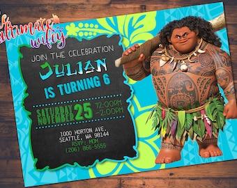Maui from Moana Movie CUSTOMIZED Birthday Invitation