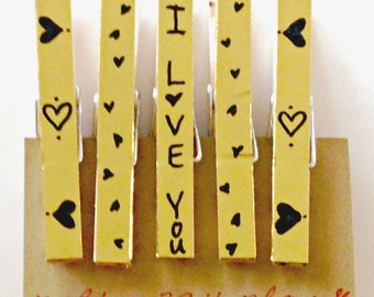 Gold Clothespin Magnets, Cute Fridge Magnets, Clothespin Magnets, LOVE Magnet Set, Heart Magnet Sets,  Shiny Magnets, Gift Mom, Teacher Gift